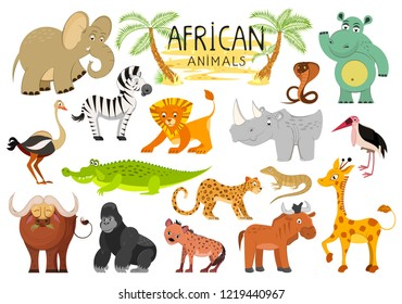 African animals collection isolated on white background. Vector illustration