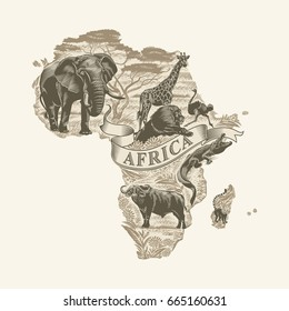 African animals, continent, lettering, Sepia, illustration, vector