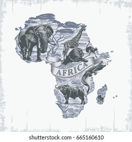 African animals, continent, lettering, vintage in blue, illustration, vector