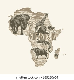 African animals, continent, Sepia, illustration, vector