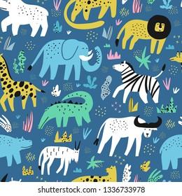 African animals flat hand drawn color seamless pattern. Cute jungle creatures cartoon characters. Rainforest, savanna fauna. Zoo, safari mammal. Buffalo, gator, lion. Wrapping paper, background design