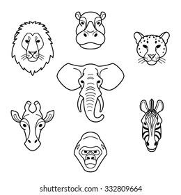 African animals in flat style.Head of elephant,lion,zebra,gorilla,giraffe,hippo and jaguar.Vector isolated icons.