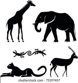African animals :  girafe, elephant, cheetah, gazelle, salamander