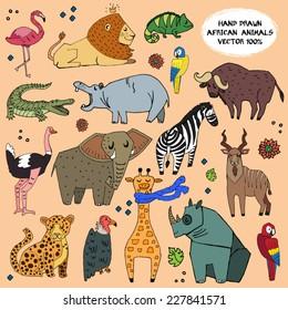 African animals hand drawn illustration vector set.