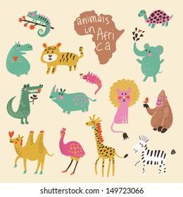 African animals: iguana, turtle, elephant, tiger, hippopotamus, crocodile, rhinoceros, lion, gorilla, camel, ostrich, giraffe, zebra in vector. Funny cartoon animals in bright colors. Childish set