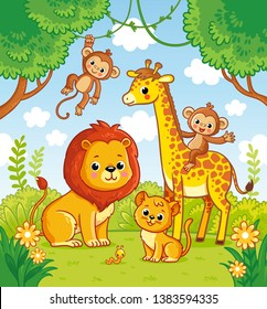 African animals in the jungle. A lion and a giraffe. Vector monkey.