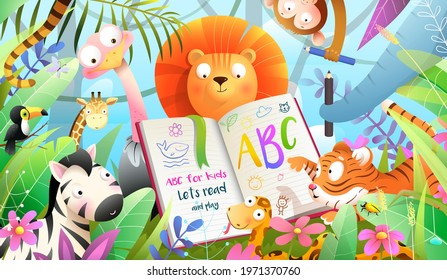 African animals in jungle reading ABC book and learning to write. Forest animals literature and education class, adorable kids animals studying how to read. Vector illustration in watercolor style. - Shutterstock ID 1971370760