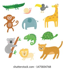 African animals, jungle tropical animals clipart, isolated vector set