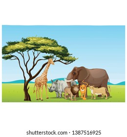 African animals in jungle vector