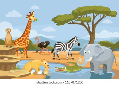 African animals in the nature. Animals of African landscape. African animals in savannah. The fauna of Africa, animals living in Africa.