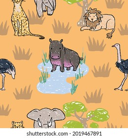 African Animals Seamless Pattern, Safari Mammals Background, Pattern for Children, Funny Exotic Animals Backdrop, Wallpaper for Kids, African Wildlife Texture