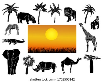 African animals set of cut-out silhouettes. Beautiful African tropical sunset. Vector illustration isolated on white background.