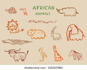 African animals set. Hand drawn wax crayons art animal icons collection. Children drawling style color elephant, hippo, buffalo,  giraffe,  lion, toucan, zebra,crocodile. Isolated chalk style icons.