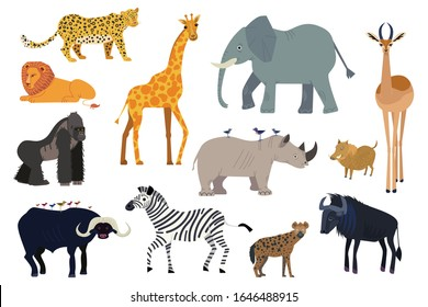 African animals, set of isolated cartoon characters elephant, giraffe and rhino, vector illustration. Wildlife animal of Africa, exotic safari travel. Lion, zebra, gorilla, antelope and hyena isolated