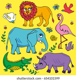 African animals set. Vector illustration.  Image can be used for web site background, on banners, invitations, print, poster and on your other designs.