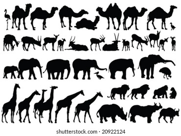 african animals silhouettes - vector