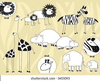 African animals and their offspring