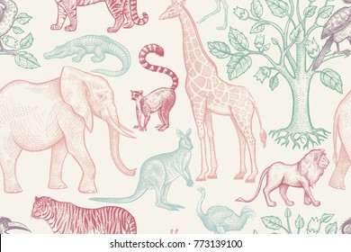 African animals and trees seamless pattern. Vintage. Vector illustration. Hand drawing. For design paper, wallpaper, textiles, fabrics, clothes, interior items, curtains. Graphics on white background.