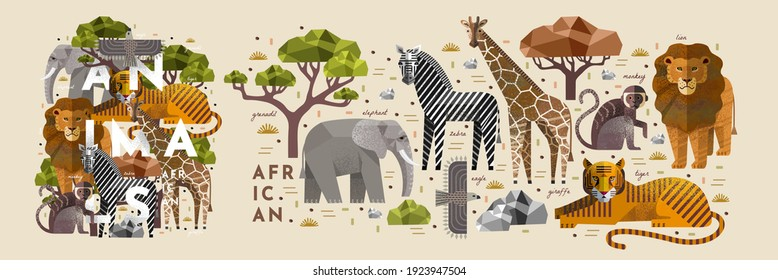 African animals. Vector illustrations of giraffe, elephant, zebra, eagle, monkey, tiger, lion, acacia tree and stone. Drawings of flora and fauna of the savannah - Shutterstock ID 1923947504