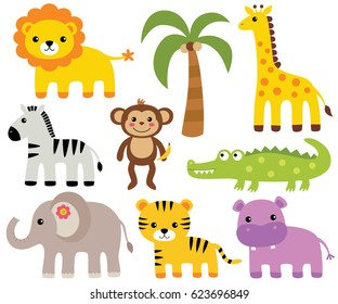 African animals, vector set