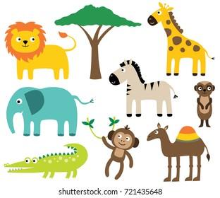 African animals vector set