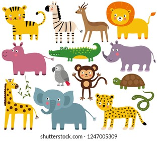 African animals, vector set (elephant, lion, croco, monkey and more)