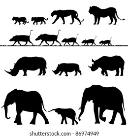 African animals, vector silhouettes