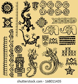 African animals.African Seth. African infographics Tribal set