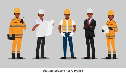 Afrikanischer Architekt und Techniker und Bauherren und Ingenieure und Mechaniker Teamwork , Vektorgrafik-Zeichentrickfigur.