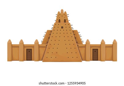 African architecture. The ancient building from clay. Temple, mosque, tower. Color drawing. Vector illustration  isolated on a white background.