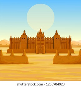 African architecture. The animation ancient building from clay. Background - a landscape the desert, the sky, a symbol of the sun. Color drawing. Vector illustration.