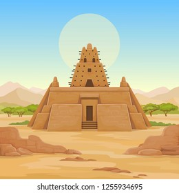 African architecture. The animation ancient building from clay. Background - a landscape the desert, mountains, sky, a symbol of the sun. Place for the text. Color drawing. Vector illustration.