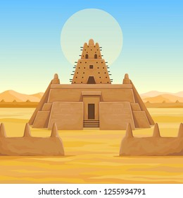 African architecture. The animation ancient building from clay. Background - a landscape the desert, the sky, a symbol of the sun. Place for the text. Color drawing. Vector illustration.
