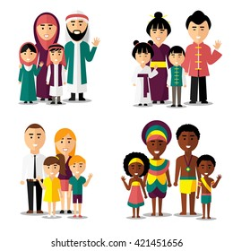 African, asian, arab and european families. Characters icons set. Vector illustration