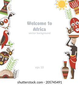 african background element pattern pottery design palm black border adventure paper