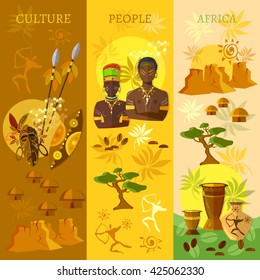 African banner Africa culture and traditions people tribe vector illustration