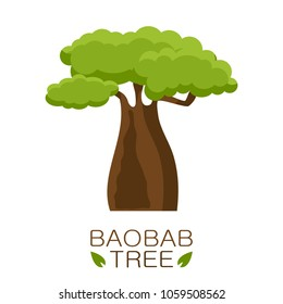 African Baobab tree icon with text isolated on white background. Vector illustration