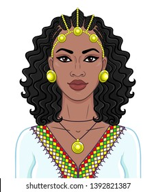 African beauty: animation portrait of the  beautiful black woman in a Afro-hair and gold jewelry. Color drawing. Vector illustration isolated on a white background. Print, poster, t-shirt, card.