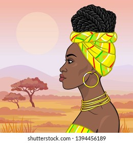 African beauty: animation portrait of the  beautiful black woman in a turban and gold jewelry. Profile view. Background - landscape the savana, mountains,  acacia tree. Vector illustration