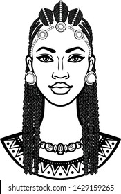 African beauty: animation portrait of the  beautiful black woman in Afro hair. Monochrome drawing. Vector illustration isolated on a white background. Print, poster, t-shirt, card.
