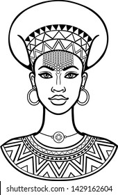 African beauty: animation portrait of the  beautiful black woman  in ancient clothes and jewelry. Monochrome drawing. Vector illustration isolated on a white background. Print, poster, t-shirt, card.
