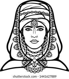 African beauty: animation portrait of the  beautiful  woman in a turban. Berber culture. Monochrome drawing. Vector illustration isolated on a white background. Print, poster, t-shirt, card.