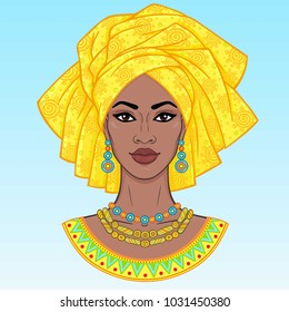 African beauty. An animation portrait of the young black woman in a turban. Vector illustration isolated on a blue background. Print, poster, t-shirt, card.