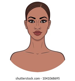 African beauty. Animation portrait of the young black woman. Vector illustration isolated on a white background. Template, Print, poster, t-shirt, card.