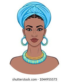 African beauty. Animation portrait of the young black woman in a turban. Vector color illustration isolated on a white background. Print, poster, t-shirt, card.