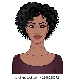 African beauty. Animation portrait of the young beautiful black woman with curly hair. Color drawing. Template for use. Vector illustration isolated on a white background.