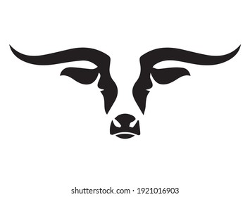 African Bison Bull Head, Silhouette buffalo head Front view logo design template, American buffalo head face elements for logo, label, emblem, sign Isolated on white background vector illustration.