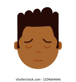 african boy head emoji with facial emotions, avatar character, man sorrowful face with different male emotions concept. flat design.