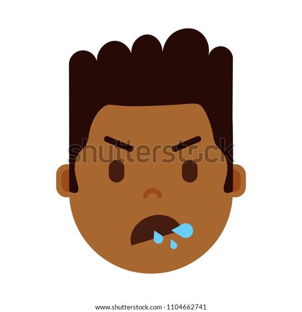 African Boy Head Emoji Facial Emotions Stock Vector (Royalty