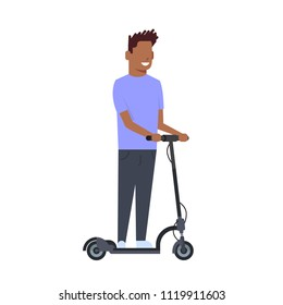 african boy riding electric kick scooter over white background. cartoon full length character. flat style vector illustration